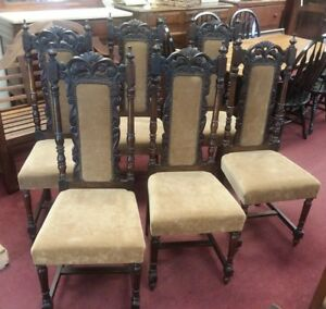 Set Of 6 Antique French Walnut Carved Dining Chairs Upholstered Seats