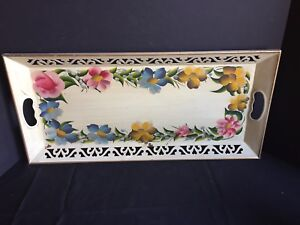 Antique Vintage Hand Painted Tole Tray