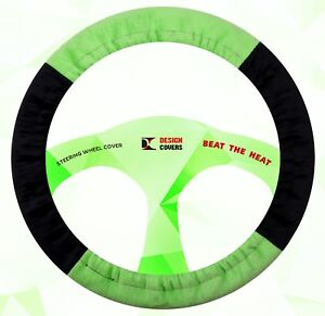 Steering Wheel Cover Black And Lime Green Velvet Material Nice And Soft