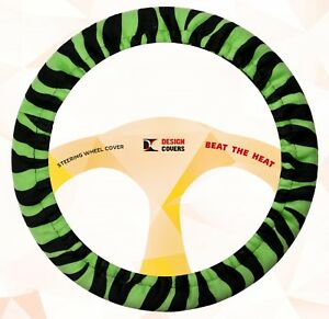 Nice Steering Wheel Cover Lime Green Zebra Velvet Materical Nice And Soft