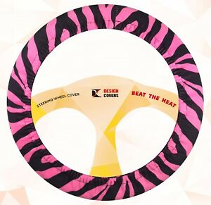 Nice Steering Wheel Cover Hot Pink Zebra Velvet Materical Nice And Soft