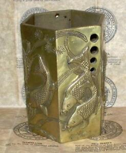 Vintage Antique Chinese 6 Sided Brass Vase With Swiming Koi Fish Design Marked