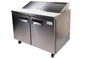 A c e Mega Top Sandwich Prep Table Salad Bar Double Door Cabinet 47 Wide