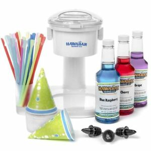 Snow Cone Maker Set Shaved Sno Ice Shaving Machine Syrup Party Supplies Complete