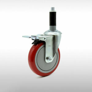 Scc 5 Ss Red Polyurethane Caster W 1 Expand Stem W tl Brake