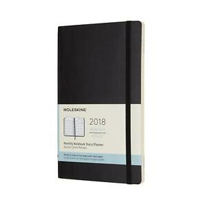 Moleskine 12 Month Monthly Planner Large Black Soft Cover 5 X 8 25