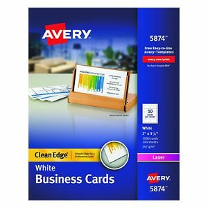 Avery Two side Printable Clean Edge Business Cards For Laser Printers White