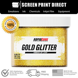 Gold Glitter Premium Plastisol Ink For Screen Printing Low Temp Cure 16oz