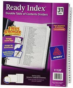 Avery Ready Index Classic Tab Titles 31 tab 1 31 8 5 X 11 Inches