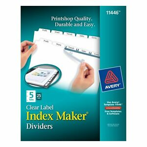 Avery Index Maker Clear Label Dividers With 5 White Tabs 25 Count 11446