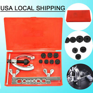 Us Double Pipe Flaring Tool Kit Box Mechanic Brake 5 6 8 10 12 14