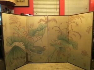Vintage Chinese Japanese By Bu 4 Panel Folding Screen Ducks And Water Plants