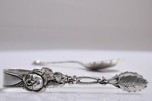 Antique 800 German Silver Rose Design Sugar Tongs And Spoon