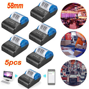5 Mini 58mm Bluetooth Wireless Thermal Receipt Printer For Ios Android Windows
