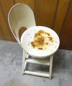 Vintage Metal Chair Stool Rusty Chippy Great Look Still Solid