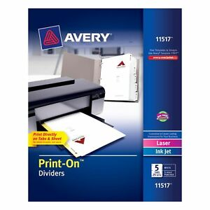 Avery Print on Dividers White 5 Tabs 25 Sets 11517