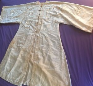 Antique Silk Embroidered Chinese Robe Sing Fat Co Dragon Label