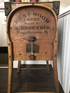 Antique Bent Wood Butter Churn M Brown Co Wapakoneta O Working Condition