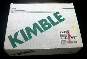 200x New Kimble 72105 Disposable Serological Pipets 1ml X 1 10 Glass Pipetttes