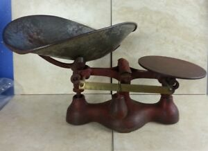 Rare Vintage Jacob Bros Cast Iron Counter Top Candy Scale 3 W Metal Scoop Red