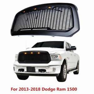 New For 13 2018 Dodge Ram 1500 Abs Mesh Front Bumper Grille Raptor Style Black