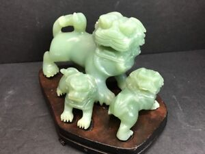 Antique 18th C Hand Carved Foo Dog Lion Shishi Jade Statues Qing Dynasty