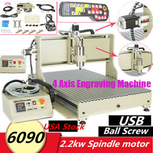4 Axis Cnc Router 2200w 6090 3d Engraver Manual Controller For Mach3