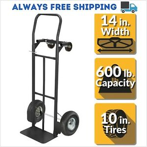Olympia Dolly 2 in 1 Convertible Hand Truck 600 Lbs Capacity Heavy Duty Steel