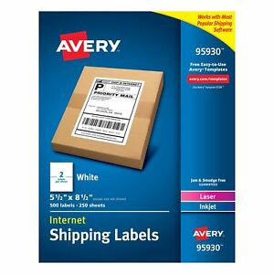 Avery Internet Shipping Labels 5 1 2 X 8 1 2 Box Of 500 95930