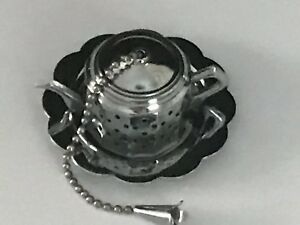 Vintage English Tea Ball Strainer Infuser Shaped Teapot With Plate Silverplated