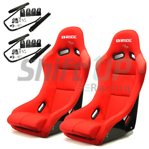Bride Vios 3 Iii In Red Plain Low Max Pair Of Bucket Racing Seats With Sliders