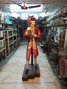 Antique Nautical Maritime Carved Wooden Captain Hand Painted Ship Figurehead