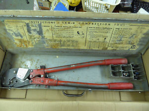 Thomas Betts Tbm8 Compression Crimper Tool W dies Case