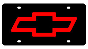 New Chevrolet Bowtie Red Logo Acrylic License Plate