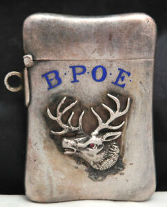 1900s Antique Sterling Silver Match Safe Case Bpoe Pocket Fob Ruby Elk Lodge