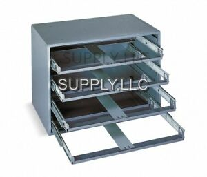 4 Bin Tray Drawer Cabinet Compartments Parts Fittings Shop Metal Storage
