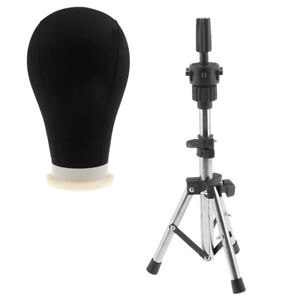 Pro Canvas Block Head Hair For Wig Make Dry Style Mannequin 24 tripod Stand