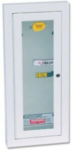 Locked Fire Extinguisher Cabinet And Breakable Glass Semi recessed 10 Lbs White