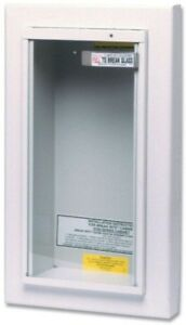 Semi recessed Fire Extinguisher Cabinet 10 Lb Wall Mount Tempered Security Glass