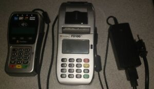 First Data Fd100ti Ip dial Machine And Fd35 Emv Pin Pad Credit Card Processing