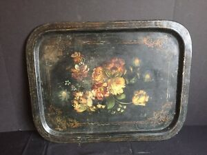 Antique Tole Painted Metal Tray With Flowers