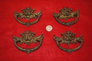 Set Of 4 Antique Vintage French Bronze Ormolu Lion Head Drawer Pulls Handles