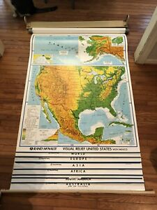 Vintage Rand Mcnally Classroom Pulldown Relief Map World Us Africa Europe More