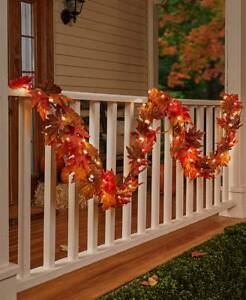 Fall Garland w White Lights and Timer 10 FEET Thanksgiving IN STOCK SHIPS ASAP