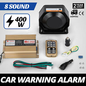 Can 400w 12v 8 Sound Loud Car Warning Alarm Fire Siren Pa Mic System Top