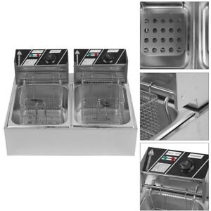 5000w Electric Countertop Deep Fryer Dual Tank Commercial Restaurant Steel 20l V