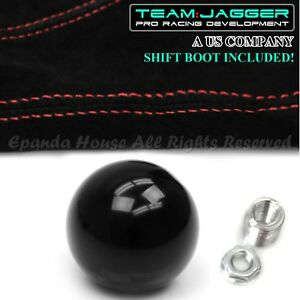 For Toyota M12 Round Billiard Black Ball Manual Gear Shift Knob Red Stitch Boot