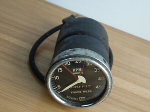 Vintage Stewart Warner Big Block Logo 4500rpm Tachometer Very Rare Large