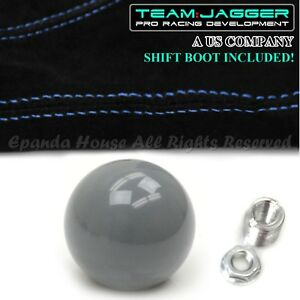 For Toyota M12 Round Billiard Black Ball Manual Gear Shift Knob Blue Stitch Boot