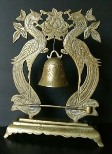 Vintage 2 Pheasants Brass Gong Bell With Striker